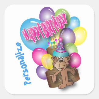 Mono lindo del fiesta del feliz cumpleaños pegatina cuadrada