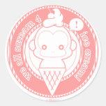 Mono lindo del helado etiqueta redonda
