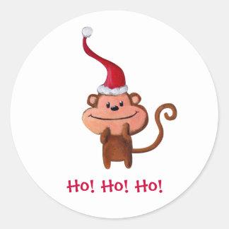 Mono lindo del navidad etiquetas redondas