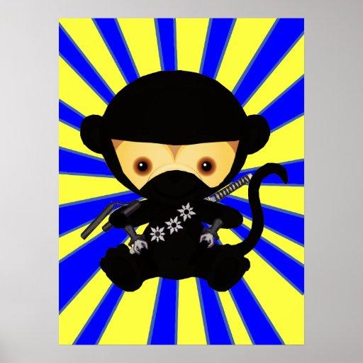 Mono lindo del ninja del kawaii impresiones