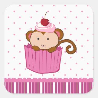 Mono lindo en pegatinas cuadrados de los polkadots colcomanias cuadradases