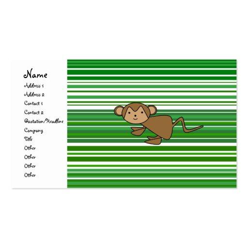 Mono lindo en rayas verdes y blancas tarjetas de visita