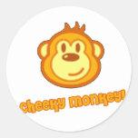 Mono lindo estupendo pegatina redonda