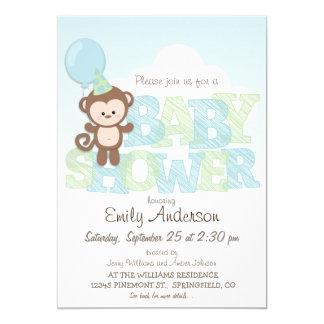 """Mono lindo; Fiesta de bienvenida al bebé azul y Invitación 5"""" X 7"""""""
