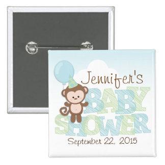 Mono lindo; Fiesta de bienvenida al bebé azul y Pin Cuadrada 5 Cm