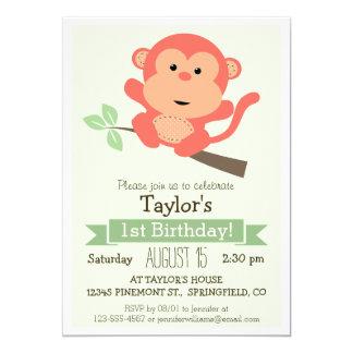 """Mono lindo, fiesta del cumpleaños del niño animal invitación 5"""" x 7"""""""