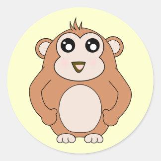 Mono lindo pegatina redonda