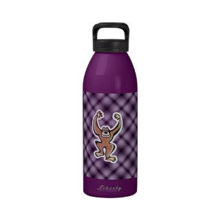 Mono lindo púrpura botallas de agua