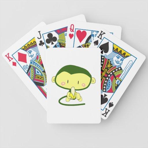 Mono lindo que come un plátano baraja de cartas