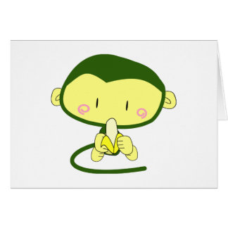 Mono lindo que come un plátano tarjeta de felicitación