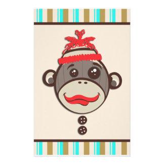 Mono loco caprichoso del calcetín del gorra inmóvi papelería de diseño
