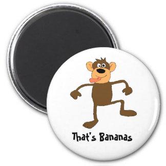 Mono loco del baile del dibujo animado imán redondo 5 cm
