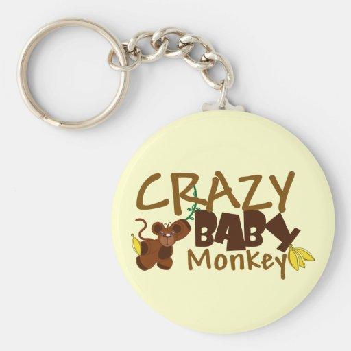 Mono loco del bebé llavero redondo tipo pin