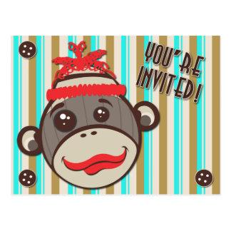 Mono loco del calcetín del gorra usted es postal i