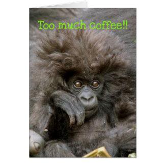 Mono loco del pelo a mucho café Notecard Tarjeta Pequeña