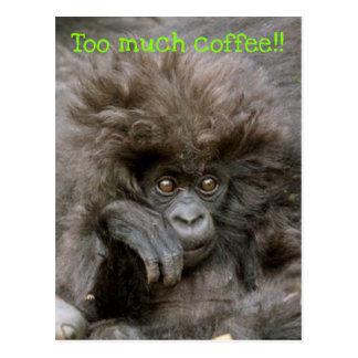 Mono loco del pelo demasiada postal del café