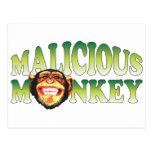 Mono malévolo tarjeta postal