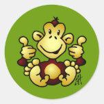 Mono maníaco etiqueta redonda