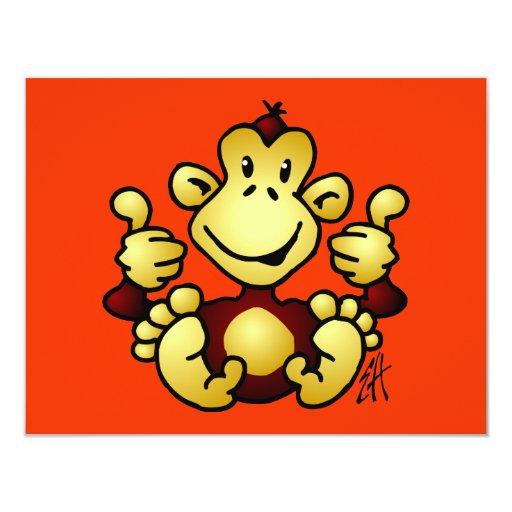 """Mono maníaco invitación 4.25"""" x 5.5"""""""