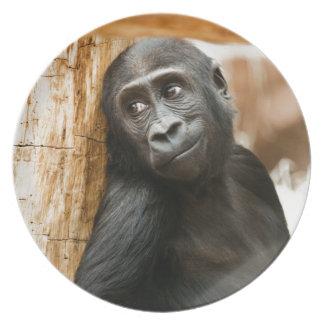Mono negro del bebé platos de comidas