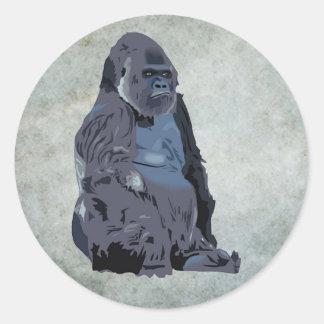 mono o gorila etiqueta redonda