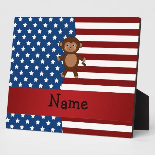 Mono patriótico conocido personalizado placa de plastico