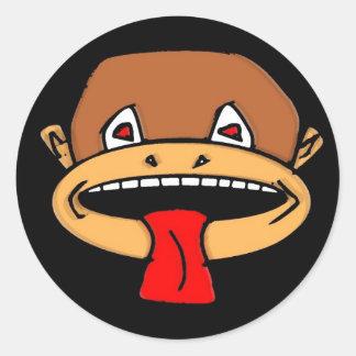 Mono pegajoso pegatinas redondas