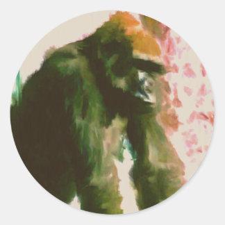 Mono peludo pegatina redonda