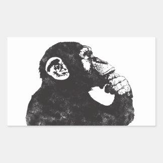 Mono pensativo pegatina rectangular