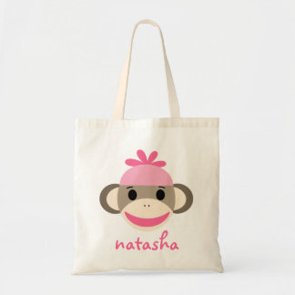 Mono personalizado Bookbag del calcetín Bolsa Lienzo