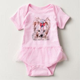 Mono polivinílico bajo del tutú del bebé del perro mameluco de bebé