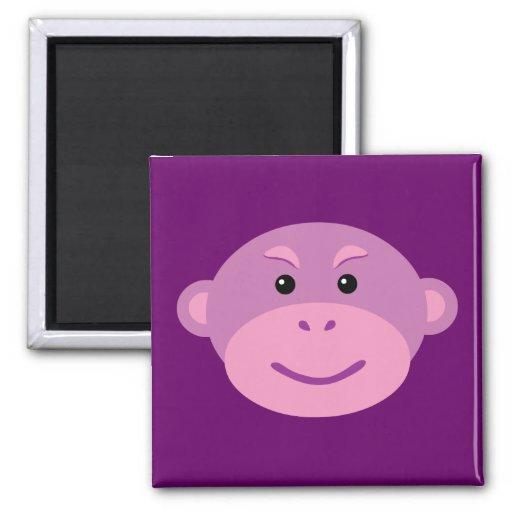 Mono púrpura iman de nevera
