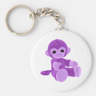 Mono púrpura llavero redondo tipo pin