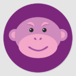 Mono púrpura pegatina redonda