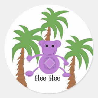 Mono púrpura tonto pegatina redonda