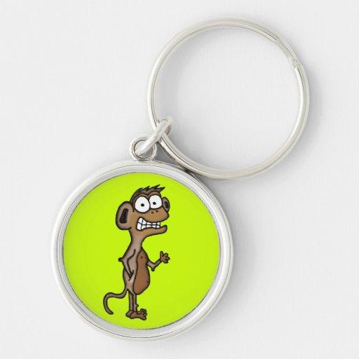 Mono que agita llavero redondo plateado