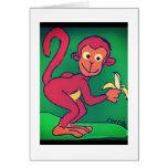 Mono que come el plátano tarjeta