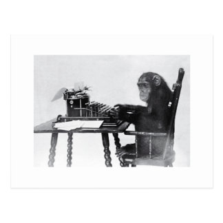 Mono que mecanografía tarjeta postal