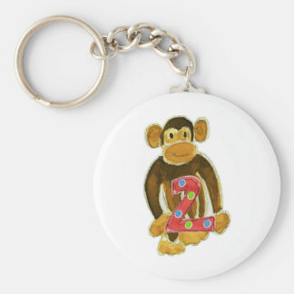 Mono que sostiene dos llavero redondo tipo pin