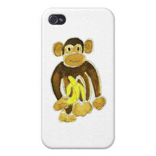 Mono que sostiene el plátano iPhone 4/4S funda