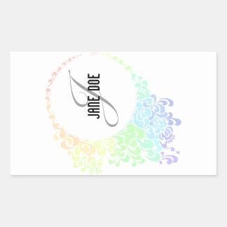 [MONO-RAIN-1] Monograma afiligranado del arco iris Pegatina Rectangular