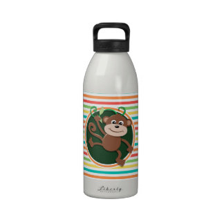Mono; Rayas brillantes del arco iris Botellas De Agua Reutilizables