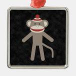 Mono retro del calcetín adorno cuadrado plateado