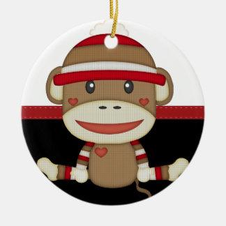 Mono retro del calcetín adorno redondo de cerámica