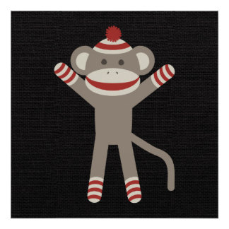 Mono retro del calcetín póster