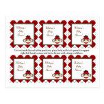 Mono rojo Argyle del calcetín de 6 etiquetas del f Tarjetas Postales