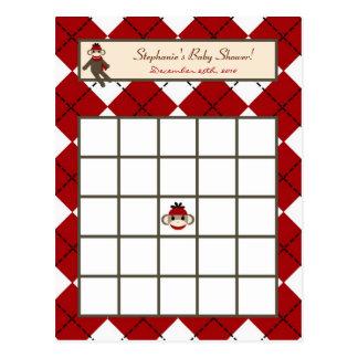 Mono rojo Argyle del calcetín de la tarjeta progra Postal