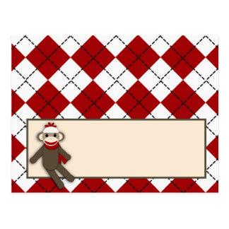 Mono rojo Argyle del calcetín de la tarjeta progra Tarjeta Postal