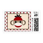 Mono rojo del calcetín de 20 sellos