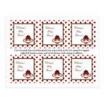 Mono rojo del calcetín de 6 etiquetas del favor tarjetas postales